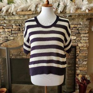 H&M Short Sleeve Sweater Navy-white
